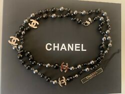 Authentic Classic Black And Gun Metal Grey Cc Pearl Necklace