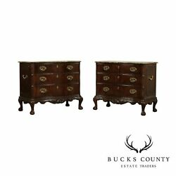 Henredon Chippendale Style Pair Mahogany Marble Top Chests