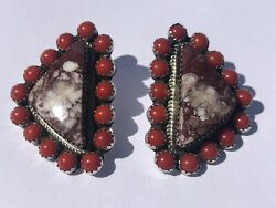 Wild Horse Turquoise And Coral Earrings By Navajo Artist Larry Joe 1 1/2 Ss