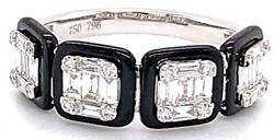 Wide .67ct Diamond And Black Enamel 18k White Gold Cluster Square Anniversary Ring