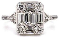 Large 1.25ct Diamond 18kt White Gold Round And Baguette 3d Square Engagement Ring