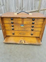 Antique Moore And Wright Wooden Engineers Toolbox / Tool Box / Cabinet / Chest