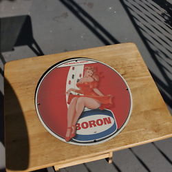Vintage 1956 The Boron Oil Company Porcelain Gas And Oil Metal Sign
