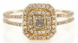 Wide .66ct White And Chocolate Fancy Diamond 18k Rose Gold Cushion Engagement Ring