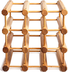 Wood Modular Wine Rack With Natural Pins 12 Bottle Ash Wood / Driftwood