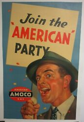 Vintage 1940s Join The American Party Amoco Gas 44x30 Poster Free Shipping
