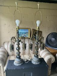 Pair Of Exquisite Antique European Glass Mid-century Crystal Table Lamps