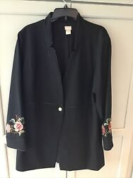 Chicos Ponte Knit Long Embroidered Blazer/ Jacket Faux Pearl Button Size 3 16/18