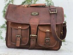 Bag Business Briefcase 3 Compartment For Laptop Files Men#x27;s Leather Messenger $46.50