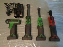 Snap-on 14.4v Cordless Ratchets - 1/4 And 3/8 - 1/4 Driver W/4 Batts/charger