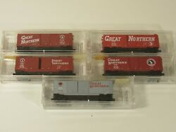Micro-trains N Scale Lot Of 5 Mixed Freight Cars Great Northern Very Light Use