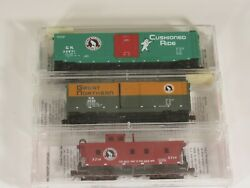 Micro-trains N Scale Lot Of 3 Mixed Freight Cars Great Northern, 2 New, 1 Used