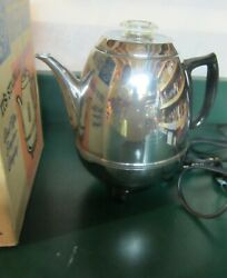 Vintage General Electric Percolator Pot Belly Chrome Coffee Maker With Box