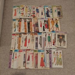 1950s 1960s 1970s Vintage Sewing Patterns Lot Of 44 Sizes 10-12-14