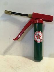 Texaco Vintage Grease Gun Lube Gas Station Coal Oil Can Sign Red Stardecal Sign