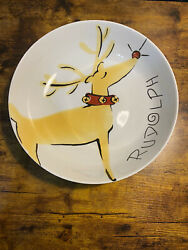 """Pottery Barn Rudolph Reindeer Large 12"""" Serving Bowl Rare Discontinued"""