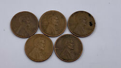 Lot Of 5 Antique Lincoln Wheat Penny Cent 1918 S, 1941 P, 1945 P, 1952 D, 1956 P