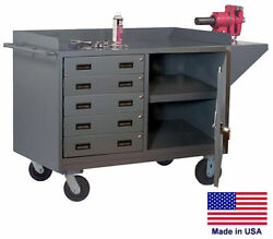Cabinet Cart Portable - Commercial - Cabinet And 5 Drawers - 38h X 60w X 24d