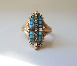Grand Antique 14k Yellow And Rose Gold Turquoise And Rose Cut Diamond Ring