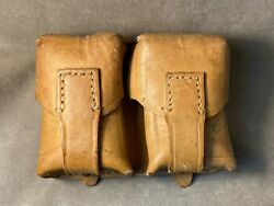 Yugoslavian 8mm Mauser M24 M48 Yugo Leather Belt Ammo Pouch. Dual Cell