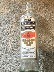 Vintage The Old Bushmills Embossed Irish Whiskey Bottle 1608 With Label