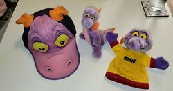 Vintage Disney Epcot Figment Dragon 1982 Disney Snapback Adult Hat Toy And Puppet