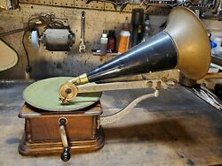 Antique Columbia Aj Disc Phonograph Graphophone - Nice Example - Plays Great