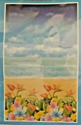 Beach and Tropical Flowers Mural Door or Wall Luau Party Coastal Décor 42quot;x72quot; $8.97