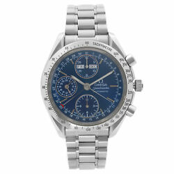Omega Speedmaster Steel Chronograph Blue Dial Automatic Mens Watch 3521.80.00