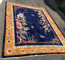 Chinese Rug Blue Colors Art Deco Large Rug Vintage Wool Handwoven 11 X 8 1/2