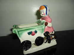 Little Girl Pushing Baby Carriage And Dog Figurine Planter Vintage Made In Japan
