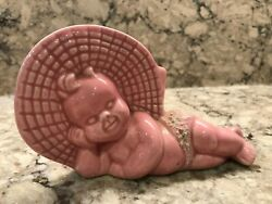 Antique Vintage Planter Laying Baby Pink Porcelain Spaghetti Diaper 2