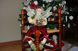 Vintage 70's Christmas Forest Fairy Doll Wings And Bird 19 Porcelain Head Hands