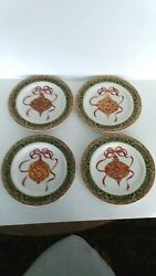 4 American Atelier At Home Handpainted Christmas Ornaments 8 1/4 Salad Plates