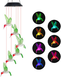 Solar Wind Chimes Lights Color Changing Hanging Hummingbird Ball Butterfly Star