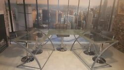 Complete Studio Set With New York City Background, 5 Chairs And 2 Glass Tables