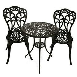 3-piece Patio Bistro Dining Set - Cast Aluminum Table And Chairs - Outdoor