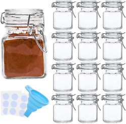 4 Oz Small Glass Jars Airtight Hinged Lid Spice Container Storage Herb 12 Pack