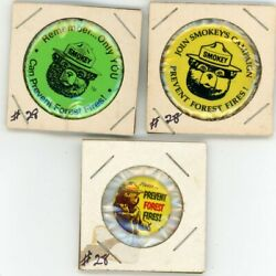 Smokey The Bear Prevent Forest Fires 3 Vintage Pin Lot
