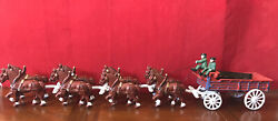 Vintage Cast Iron Beer Wagon 8 Clydesdale Horses Drivers And 15 Kegs Budweiser