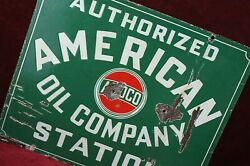 Antique Amoco American Oil Company Porcelain Sign Authentic 1930's Old Gas
