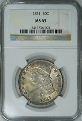 1831 Ngc Ms63 Pq Bust Half Great Luster And Eye Appeal On This Pretty Specimen