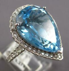 Extra Large 15.47ct Diamond And Aaa Blue Topaz 18kt White Gold 3d Engagement Ring