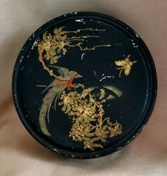 Rare Antique Canco Beautebox Bird Butterfly Floral Tin Hand Paint Biscuit Candy