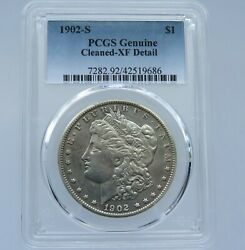 1902-s Morgan Silver Dollar - Pcgs - Genuine - Cleaned - Xf Details - F9686