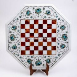 White Marble Top Handmade Chess Set With Wooden Stand Mosaic Inlaid Arts Dandeacutecor