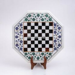 Marble Top Table Chess Set With Wooden Stand Handmade Mosaic Carnelian Stone Art