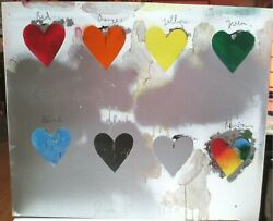 Jim Dine 8 Hearts Screenprint In The Dine Style Spray Paint Technique 1970 Rare