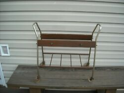 Vintage Mid Century Modern 2 Tier Rolling Music Stand / Microwave / Tv Cart