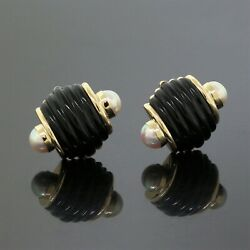 Vintage Trianon 14k Yellow Gold Carved Black Onyx White Pearl Fluted Earrings